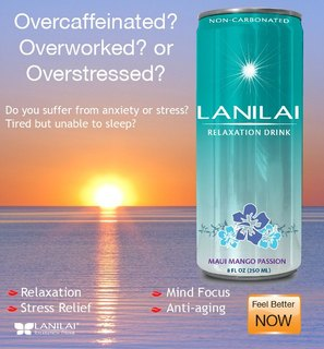 LANILAI Relaxation Drink. A tasty calm drink made with 100% natural herbal ingredients to help ease sleep debt, insomnia, restlessness, and stress.