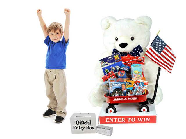 Bernie The Bear Promotion is one of several summer retail traffic promotions that can be used as sweepstakes or for a drawing for almost any business. Includes Bear, toys, entry box and entry blanks.