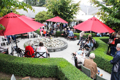 The crowds of family and friends gathered in the Menno Place Courtyard