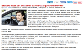 Underwriter argues that Brokers must put customer care first