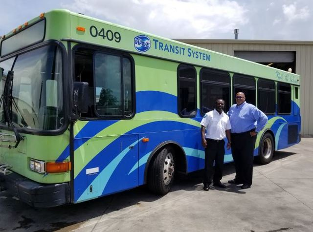 (L) Lamar Howard, First Transit safety supervisor, Michael Chinn, First Transit general manager
