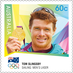 Tom Slingsby - Australia's first individual gold medallist to feature on a 2012 Australian Gold Medallist Stamp