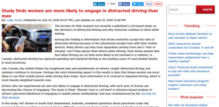 Study Finds Women More Likely to Engage in Distracted Driving