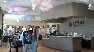 LightSculpture artists, William Leslie and Alessandra Colfi, at their latest installation at EyeLux Optometry in 4S Ranch.
