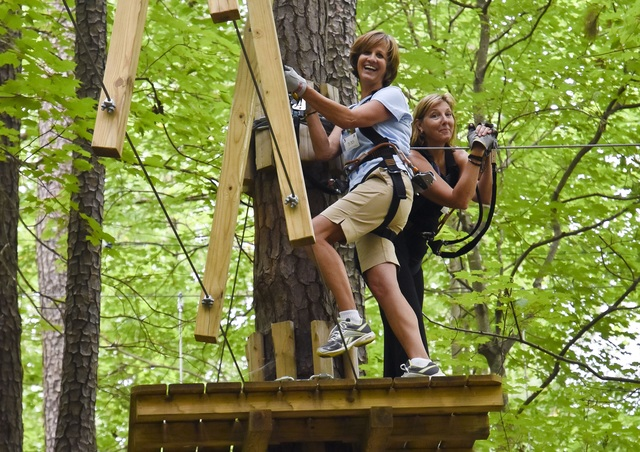Teachers...up in the treetops? Sure! At Teacher Appreciation Days at The Adventure Park.