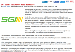 SGI to Seek Insurance Rate Decrease