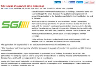SGI to Seek Insurance Rate Decrease