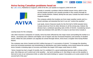 Aviva Now Ready to Face Canadian Problems Head On