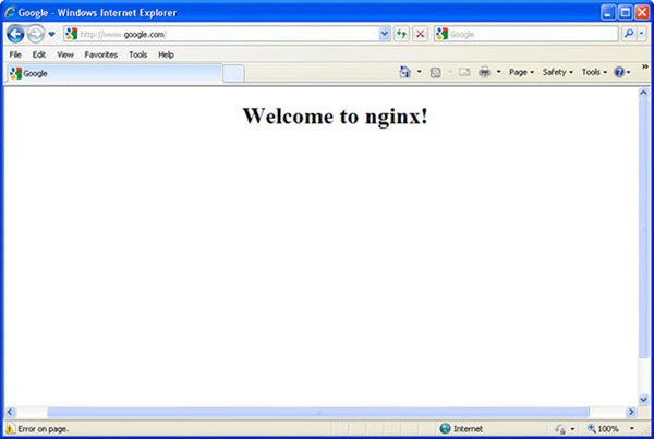 Nginx Virus redirects your browser to a blank web page which says 'Welcome to Nginx!'