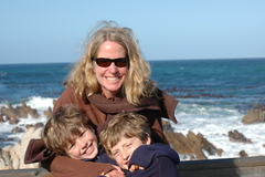 African Adventure Consultants co-founder Kelly McElroy with sons Grady and Tate at Betty's Bay, South Africa on their recent family safari © Africa Adventure Consultants