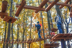 The Adventure Park is more than just zip lines -- the experience includes crossing tree-to-tree challenge bridges. Trails for introductory through advanced levels.