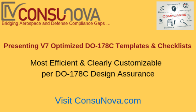 ConsuNova V7 Optimized DO-178C Templates and Checklists
