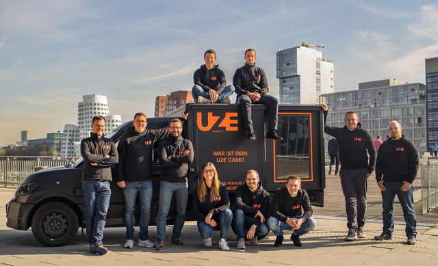 """From left to right: CEO & Co-Founder Dr. Dr.-Ing. Alexander N. Jablovski, CDO & Co-Founder Sebastian Thelen and team. Editorial use of this picture is free of charge. Source: """"UZE Mobility"""""""