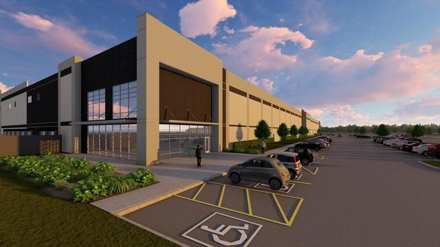 Rendering of the upcoming distribution center for Ollie's Bargain Outlet in Lancaster, Texas