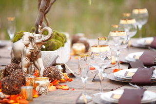 Fall table setting with warm colour palette.
