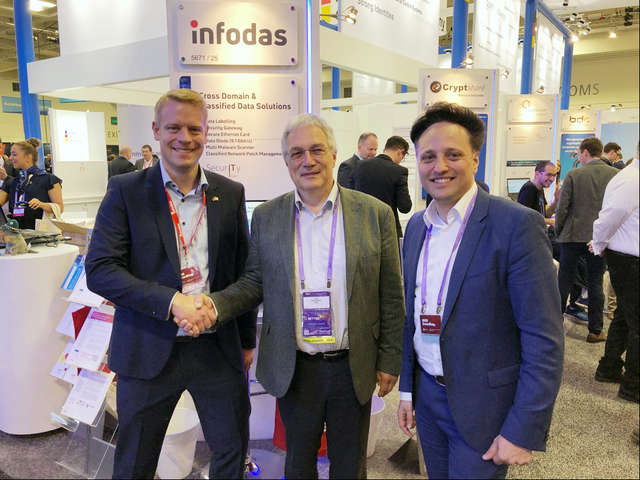 """from left: Thorsten Ecke, Prof. Udo Helmbrecht, Ammar Alkassar Editorial use of this picture is free of charge. Please quote the source: """"obs/Infodas"""""""