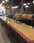 The River City Wood Design craftsmen created this square edge bar top out of Birdseye Maple Veneer for a Louisville, Kentucky business.