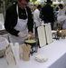 A chef dips into freshly prepared fondue at the Taste of the Tetons Event
