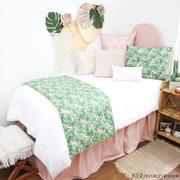 Blush Pink and Green Leaf Dorm Bedding Set by Decor 2 Ur Door