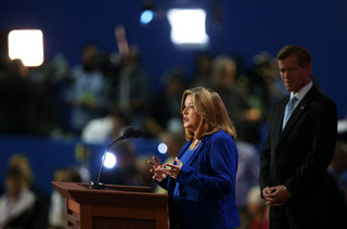 Bev Gray and Governor Bob McDonnell speak together at the Republican National Convention.