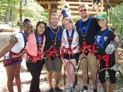 Best friends in the treetops. The Adventure Park is lots of fun to share with friends or family.