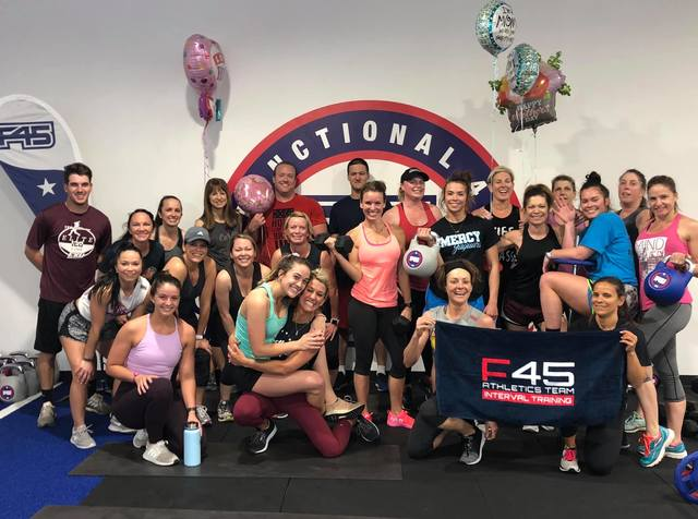 F45 is an international fitness chain offering bootcamp style classes in 45-minute sessions. Kentucky's first franchise locations are located in Middletown, Crestwood and St. Matthews, Kentucky.