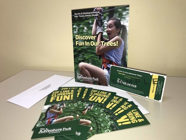 The Adventure Park provides a display kit for nonprofit fundraisers which includes a table poster, information cards, sample ticket and of course, the tickets themselves.