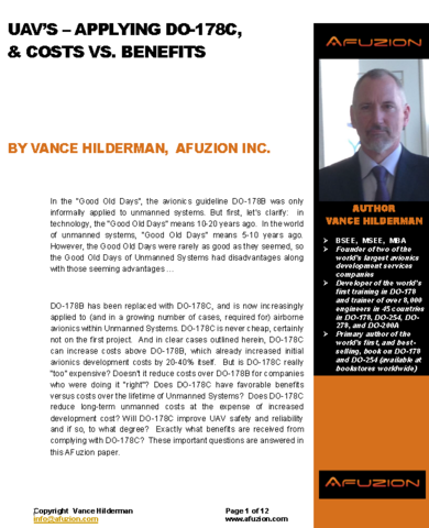 AFuzion's new DO-178C & UAV Costs/Benefits Paper - 12 Pages.