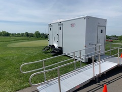 The Executive ADA Restroom Trailer is available exclusively through Moon Portable Restrooms and is the best restroom trailer available for those who want to make their next event inclusive to all.
