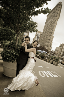 The iconic New York City wedding Flatiron Building shot by Tatiana Valerie, Artvesta Studio