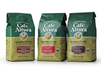 Cafe Altura 10 oz bag. New Cafe Altura packaging comes in bags and cans.