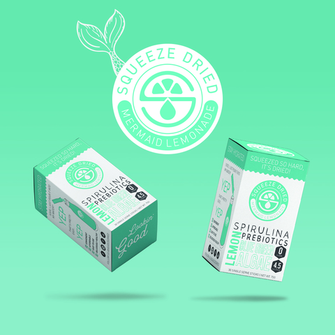 Squeeze Dried Products launches Mermaid Lemonade.  A tasty blend of Spirulina, Prebiotics, Lemon and Blue/Green Algae.