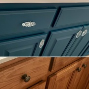 Before and after of cabinets painted with Heirloom Traditions' All-In-One Paint