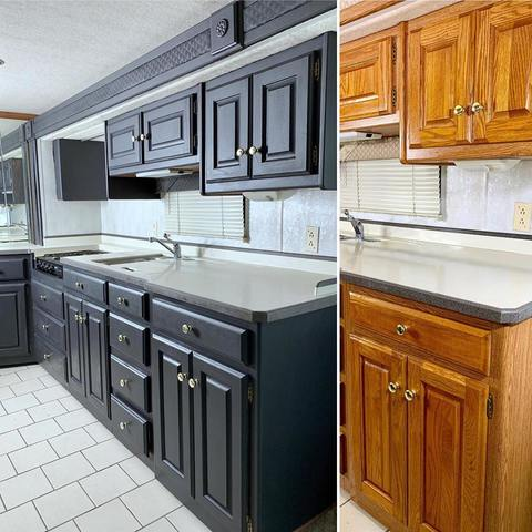 Before and after of kitchen cabinets painted with Heirloom Traditions' All-In-One Paint