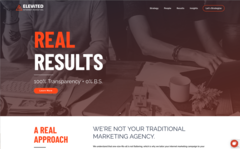 Elevated.com's latest iteration of evolutionary web design embodies the digital agency's core values: Reliability; Results; Relevant; and Real.