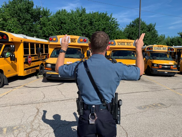 The Kansas Highway Patrol inspects school buses before the beginning of every new school year.