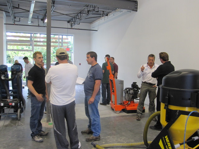 Students Learning To Polish Concrete at WerkMaster Certified Training School