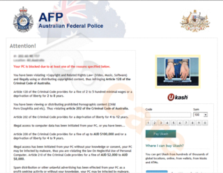 Australian Federal Police Ukash Virus Scams PC Users with Its Fake Police Alert