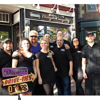 "Guy Fieri of ""Diners, Drive-Ins and Dives"" has a ""Mac Attack"" at Boston Burger Company"