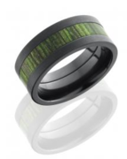 Jade Wood Inlaid Ring in Black Zirconium
