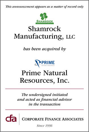 Shamrock Manufacturing LLC acquisition by Prime Natural Resources, Inc.
