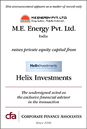 Helix Investments has taken a significant minority stake in M.E Energy Pvt. Ltd.