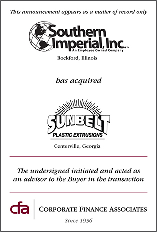 Southern Imperial, Inc. acquires Sunbelt Plastic Extrusions, Inc.