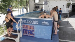 Swimmers line up to train in the Endless Pool Elite to receive instant feedback