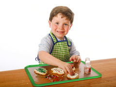 The Kiddy Platter children's placemat and craftmat means less mess while decorating holidays cookies.