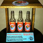 Recycled bottles used to package Ricante Hot Sauce.
