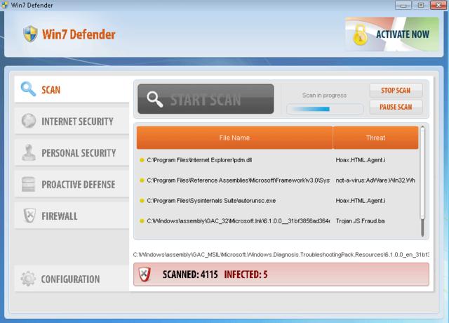 Win7 Defender is not a legitimate anti-spyware program.