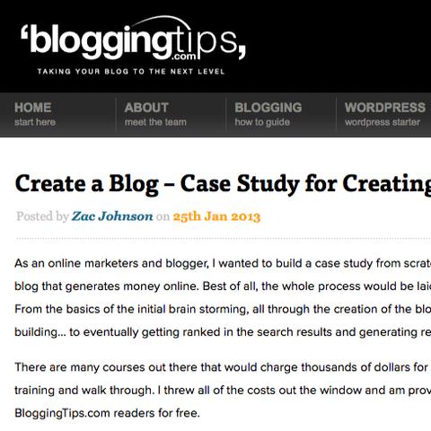 BloggingTips.com's Create a Blog Case Study