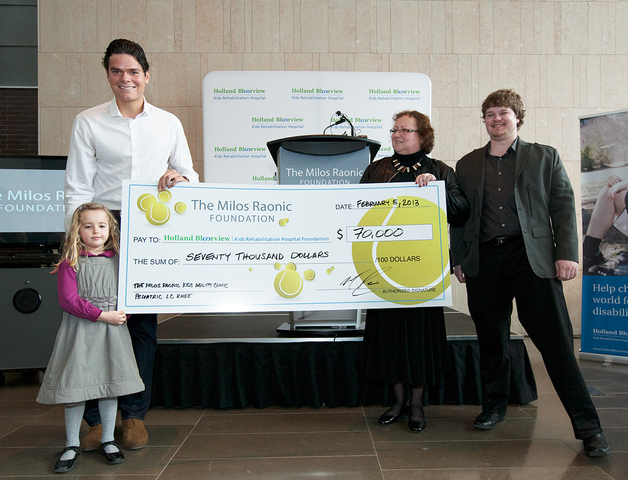 The Milos Raonic Foundation makes donation to Holland Bloorview