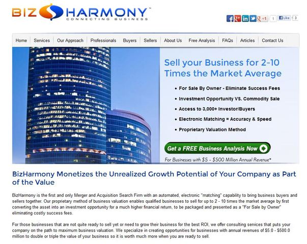 BizHarmony's redesigned website provides prospective and current business owners with information on buying and selling businesses.